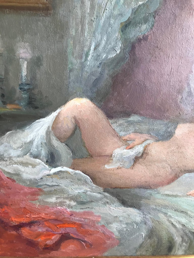 Marcel Dyf, Reclining nude, impressionist oil painting - Impressionist Painting by Marcel Dyf