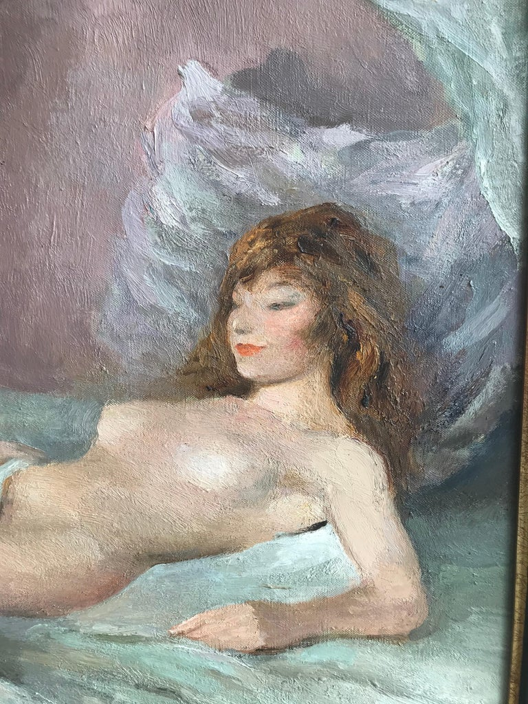 Marcel Dyf, Reclining nude, impressionist oil painting - Gray Figurative Painting by Marcel Dyf