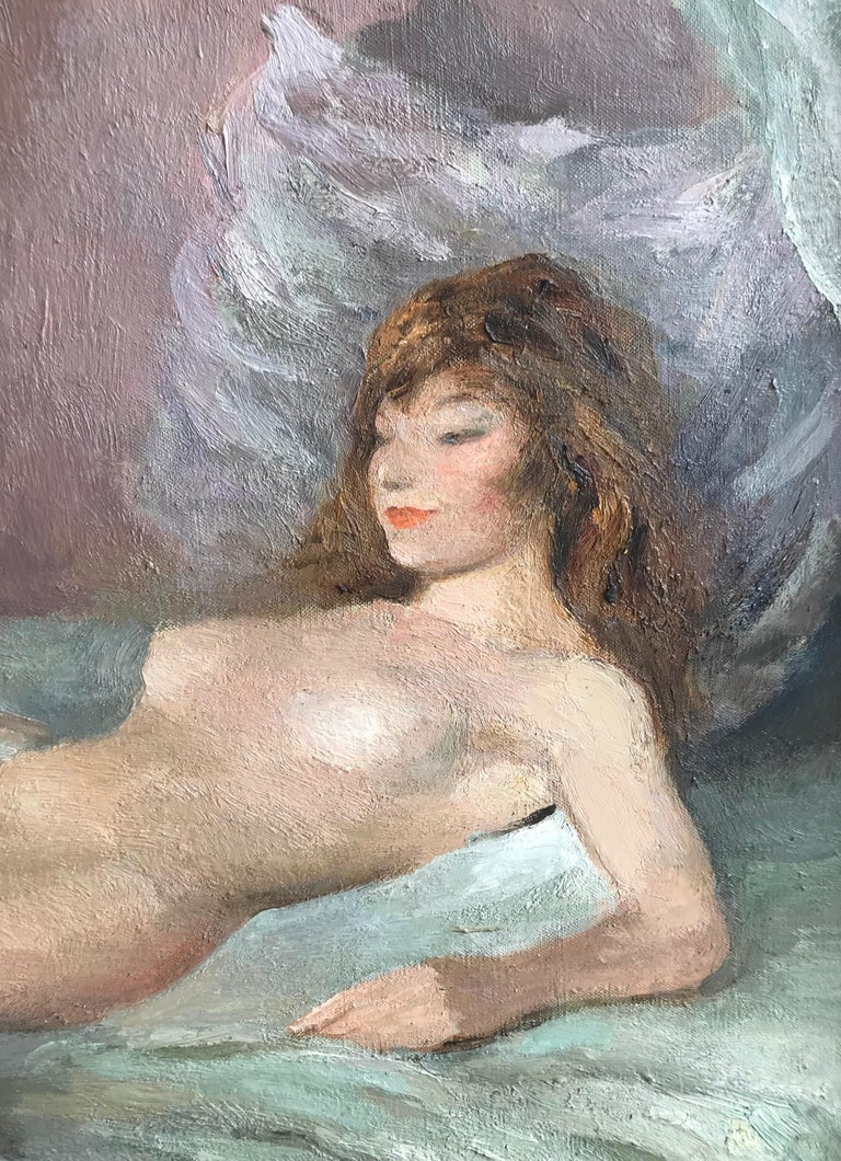 A wonderful example of a reclining nude by Marcel Dyf, painted with characteristic panache; fabulous brushstrokes and colour employed to capture the curves of the model.  Marcel Dyf (1899-1985) Reclining nude Signed Oil on canvas 23½ x 28¾