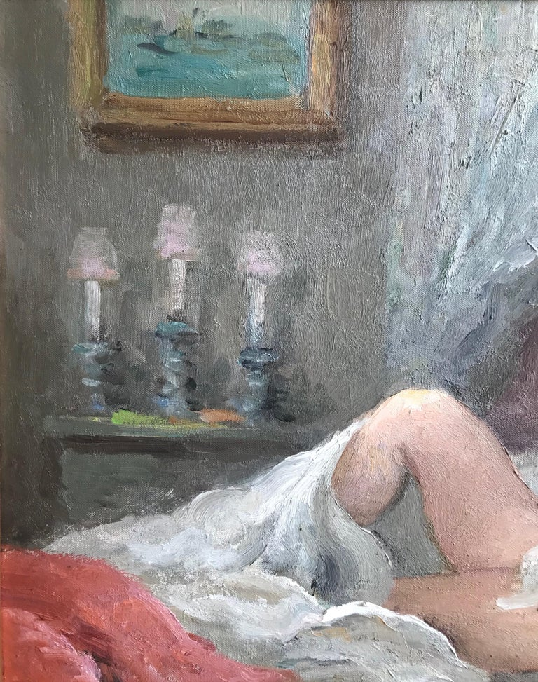 Marcel Dyf, Reclining nude, impressionist oil painting For Sale 2