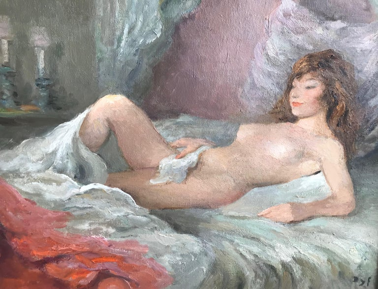 Marcel Dyf, Reclining nude, impressionist oil painting - Painting by Marcel Dyf