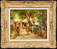Marche aux Fleurs - Post Impressionist Oil, Figures in Landscape by Marcel Dyf