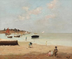 'Morbihan' French Landscape painting of a lake & Sailboats. With Figures & beach