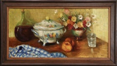 Nature morte sur une table - 20th Century Still Life Oil by Marcel Dyf