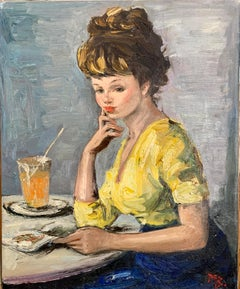oil painting, mid century French portrait of a young girl