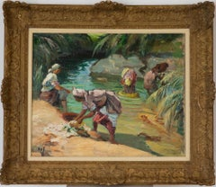 Oil painting river scene by Marcel Dyf titled Femmes Maroccaines