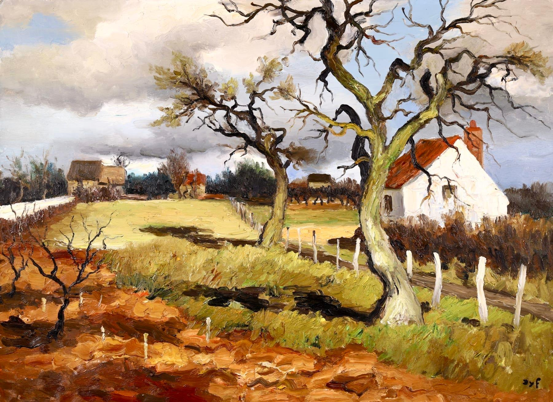 Path to the Farm - Post Impressionist Oil, Cottages in Landscape by Marcel Dyf