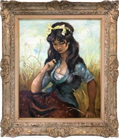 """Pensive Gypsy Girl Sitting in a Field"" Oil on Canvas Impressionist Painting"