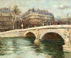 Pont de l'Alma - Post Impressionist Oil, River in Cityscape by Marcel Dyf