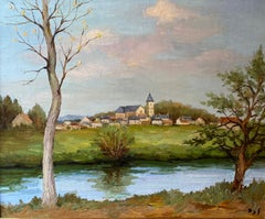 'Riviere Endormie' French landscape river scene with trees, buildings & greenery