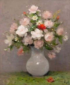 Roses au pot d'opaline