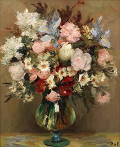 'Roses & Irises' 20th Century Still Life Painting of a pink bouquet of flowers