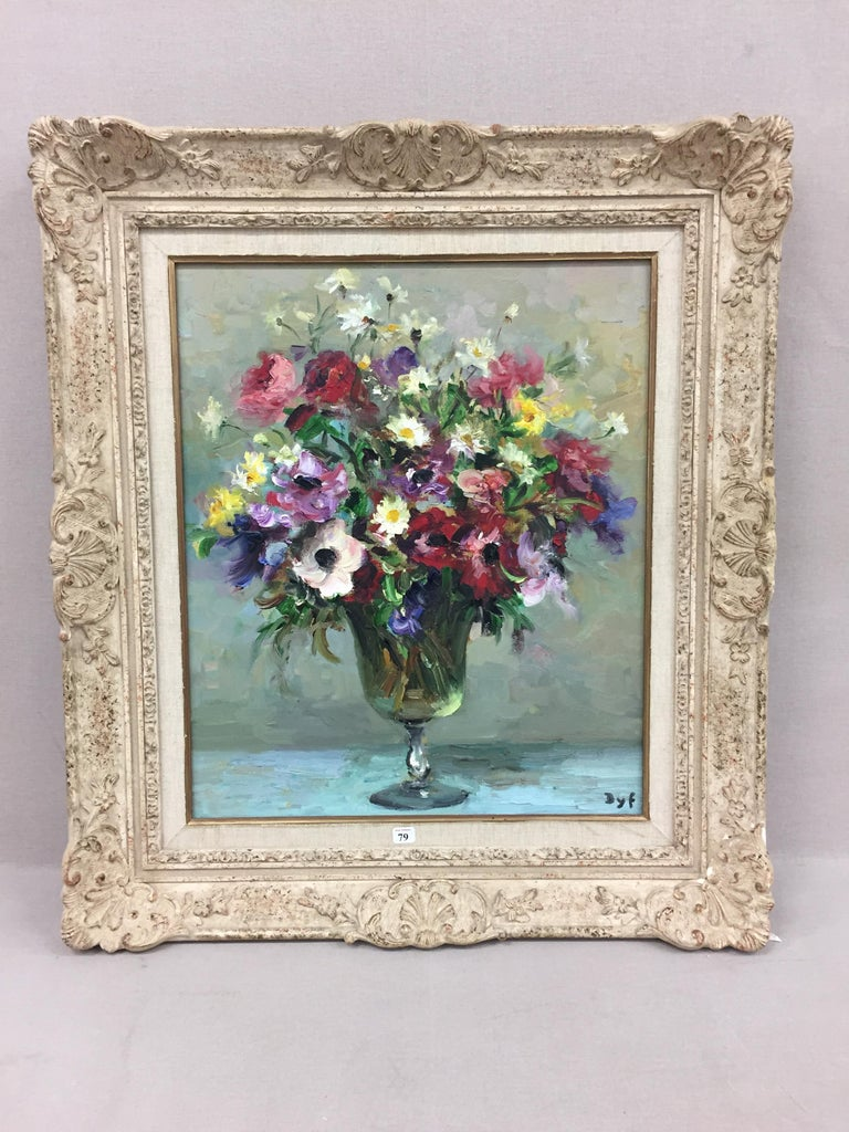 Still-Life painting by Marcel Dyf in an Impressionist style 'Daises & Anenomes' For Sale 1