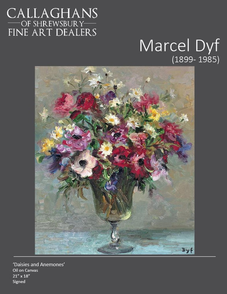 Still-Life painting by Marcel Dyf in an Impressionist style 'Daises & Anenomes' For Sale 5