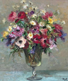 Still-Life painting by Marcel Dyf in an Impressionist style 'Daises & Anenomes'