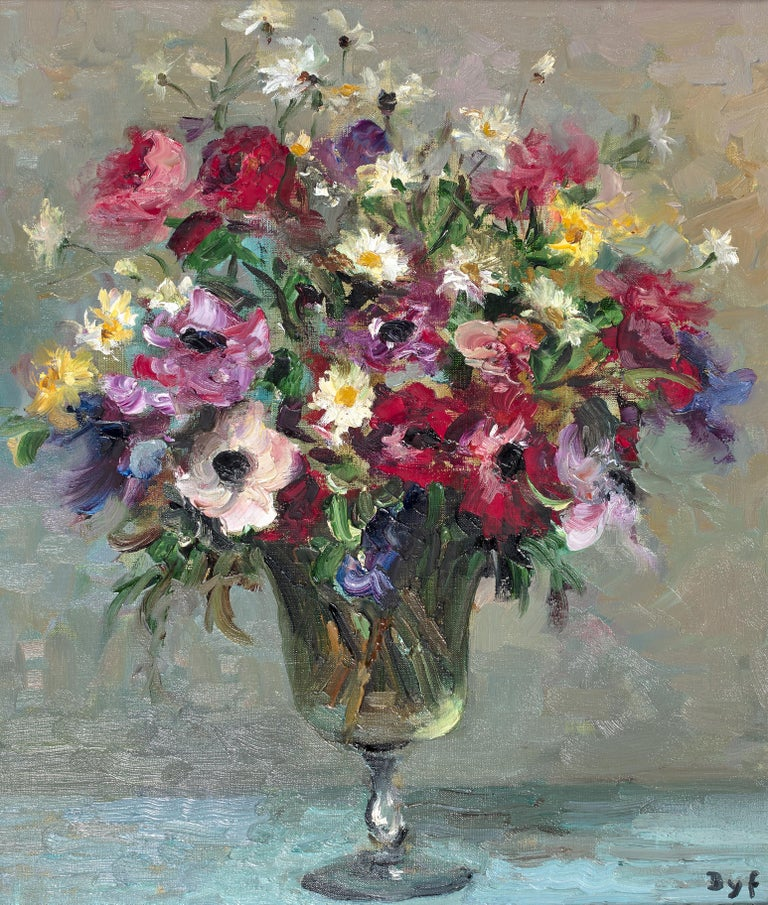 'Daisies & Anemones' is painted with a true love of nature. The petals of the flowers glimmer with reflected light and the colours sing. Dyf and his wife Claudine would pick the flowers from their garden in Versailles. Claudine would often pick the
