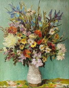 'Summer Bouquet' Still life of Flowers in a vase by Marcel Dyf. Purples, Blue