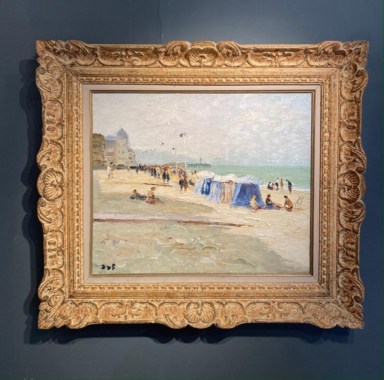 'Trouville Sur Mer' French Landscape beach scene with figures, sea and beach hut - Painting by Marcel Dyf