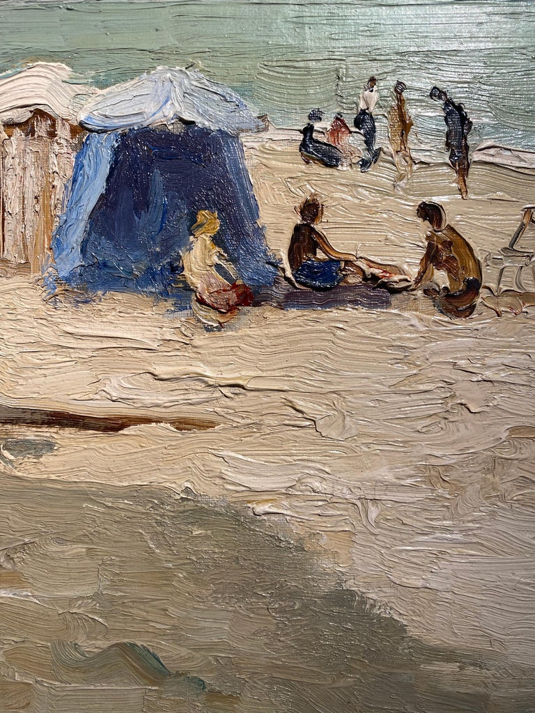'Trouville Sur Mer' French Landscape beach scene with figures, sea and beach hut - Beige Landscape Painting by Marcel Dyf