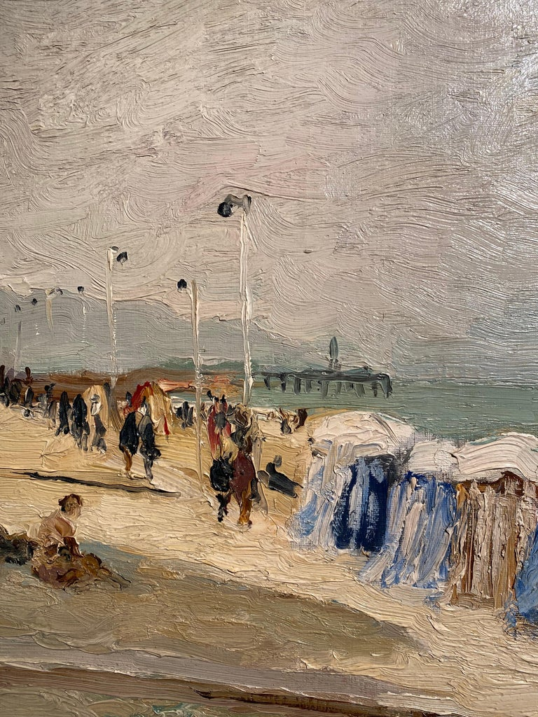 'Trouville Sur Mer' is a gloriously warm painting of late summer in Trouville, France.   To watch Dyf paint was entrancing. Even as an old man, he would stand rather than sit before the easel, working with extraordinary vigour and intense