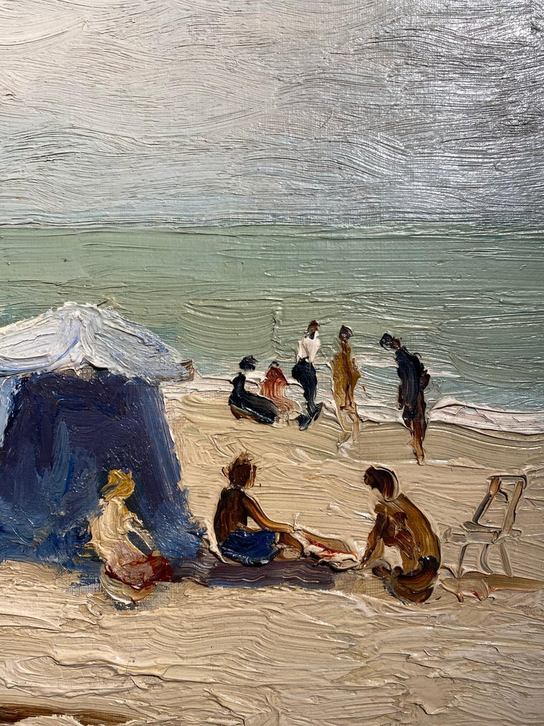 'Trouville Sur Mer' French Landscape beach scene with figures, sea and beach hut For Sale 1