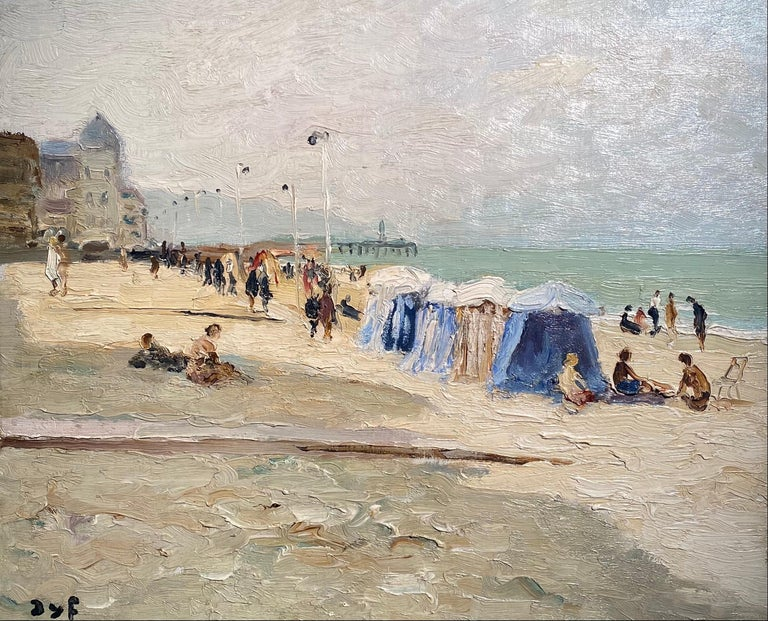 Marcel Dyf Landscape Painting - 'Trouville Sur Mer' French Landscape beach scene with figures, sea and beach hut