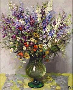 White & Purple Bouquet - Post Impressionist Oil, Still Life Flowers - Marcel Dyf