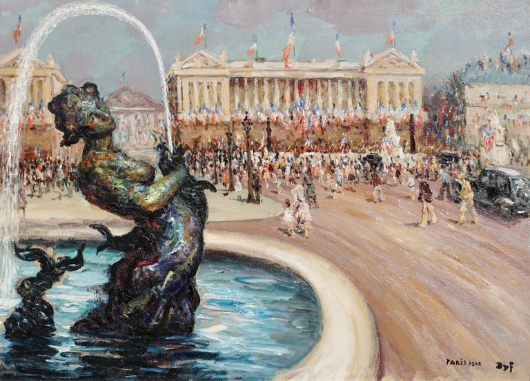 """Marcel Dyf French, 1899-1985  """"Place de La Concorde"""" , 1948  Signed Dyf and dated 1948 Paris (lr)  Oil on canvas  Canvas: 29 x 39.75 Inches (73.6 x 99 cm)  Framed: 35 x 45.25 Inches  This larger than life oil on canvas original Dyf painting is rare"""