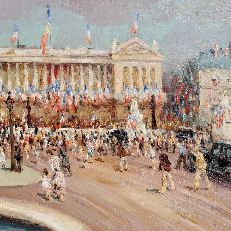 """Hand-Painted Marcel Dyf  """"Place De la Concorde"""" For Sale"""