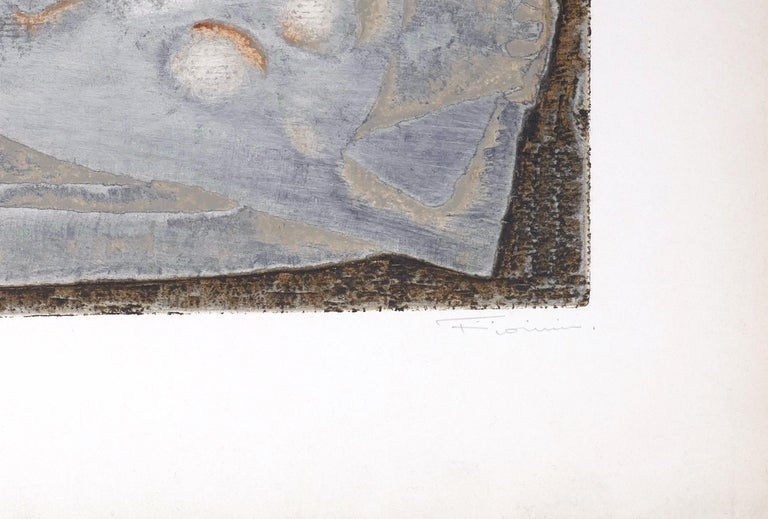 Abstrait Gris - Original Lithograph by Marcel Fiorini - Late 20th Century For Sale 1