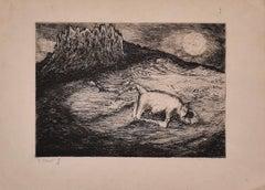 Frog - Original Etching on Paper by Marcel Gaillard - 1950s