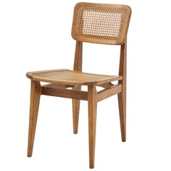 Marcel Gascoin 'C' Chair, Oak, Caning, Edition Arhec, France, circa 1947-1950