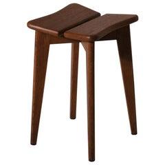 Marcel Gascoin Oak Wooden 'Trèfle' Stool