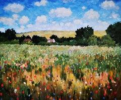 """Wildflowers, Chichester"", post-impressionist British landscape, oil on canvas."