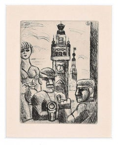 In a Café (Lille) - Original Etching by Marcel Gromaire - 1926