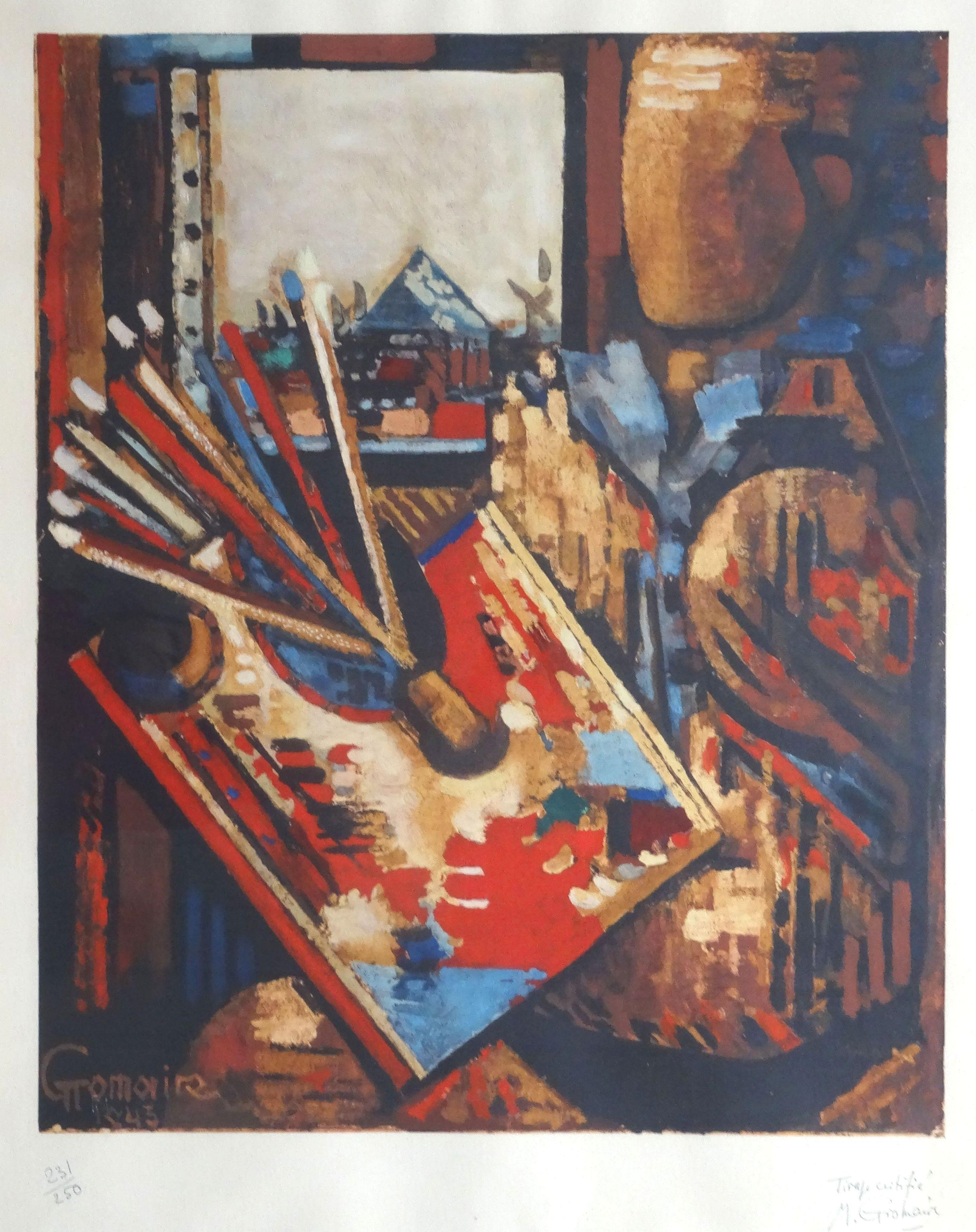 The painter. 1943, paper, lithograph, 56x46 cm