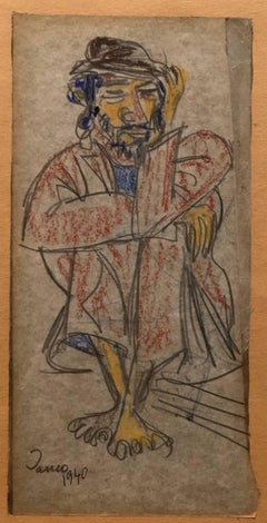 DADA Artist Watercolor Painting  and Drawing Israeli Modernist