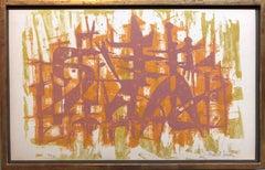 DADA Artist Abstract Figures Silkscreen Lithograph Print Israeli Modernist