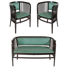 Marcel Kammerer Seating Set Salon Suite, Thonet, Turquoise Green Leather, 1910