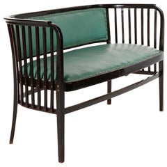 Marcel Kammerer Settee Bench Seat, Thonet Austria, Turquoise Green Leather, 1910