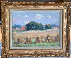 French Impressionist landscape painting of a Hay Harvest - Summer - Monet