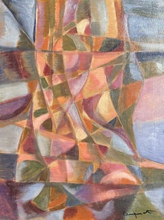 MID 20TH CENTURY FRENCH CUBIST ABSTRACT OIL PAINTING - SIGNED