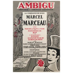 'Marcel Marceau' French Cabaret and Theatre Original Lithograph Poster, 1995