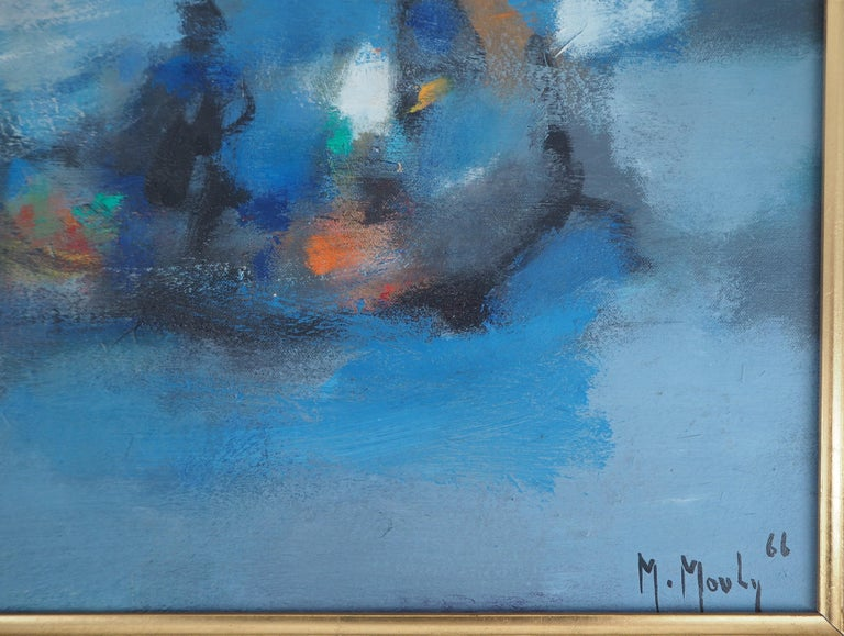 Boats : The Blue Sails - Original oil painting on canvas, Handsigned - Painting by Marcel Mouly