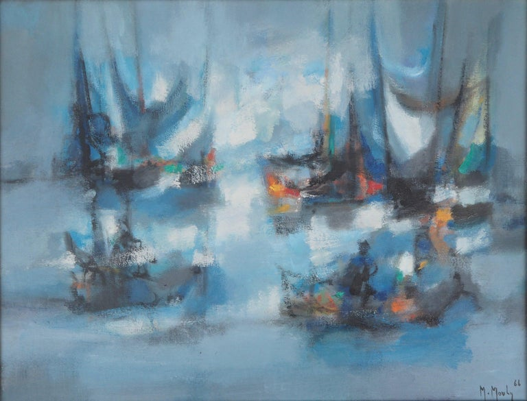 Boats : The Blue Sails - Original oil painting on canvas, Handsigned - Post-Impressionist Painting by Marcel Mouly