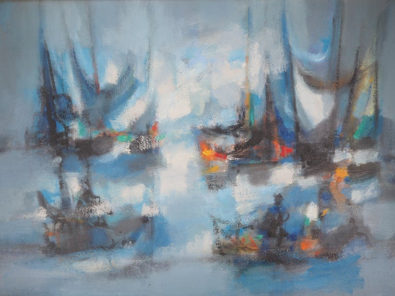 Boats : The Blue Sails - Original oil painting on canvas, Handsigned - Gray Landscape Painting by Marcel Mouly
