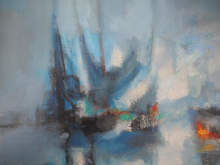 Marcel Mouly (1918 - 2008) Boats : The Blue Sails, 1966  Original oil painting on canvas Handsigned bottom right Signed, titled and dated on the back On canvas 50 x 65 cm (c. 20 x 26 inch) Presented in golden wood frame 62 x 77 cm (c. 25 x 31