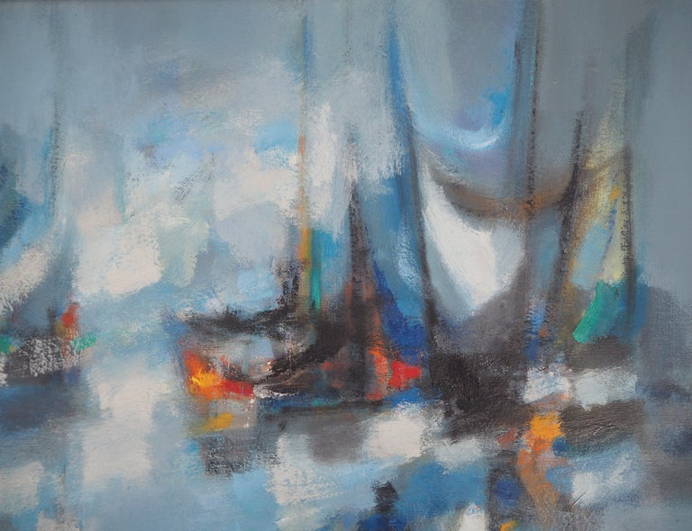Boats : The Blue Sails - Original oil painting on canvas, Handsigned 1