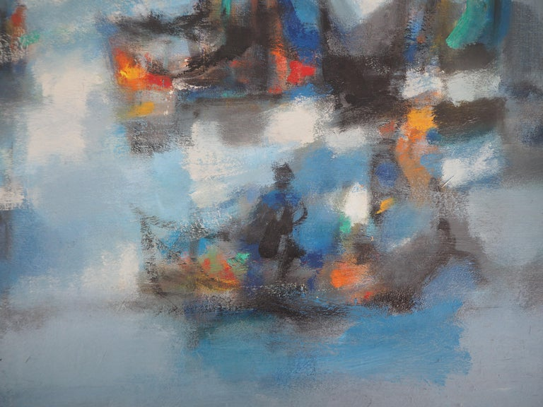 Boats : The Blue Sails - Original oil painting on canvas, Handsigned 2