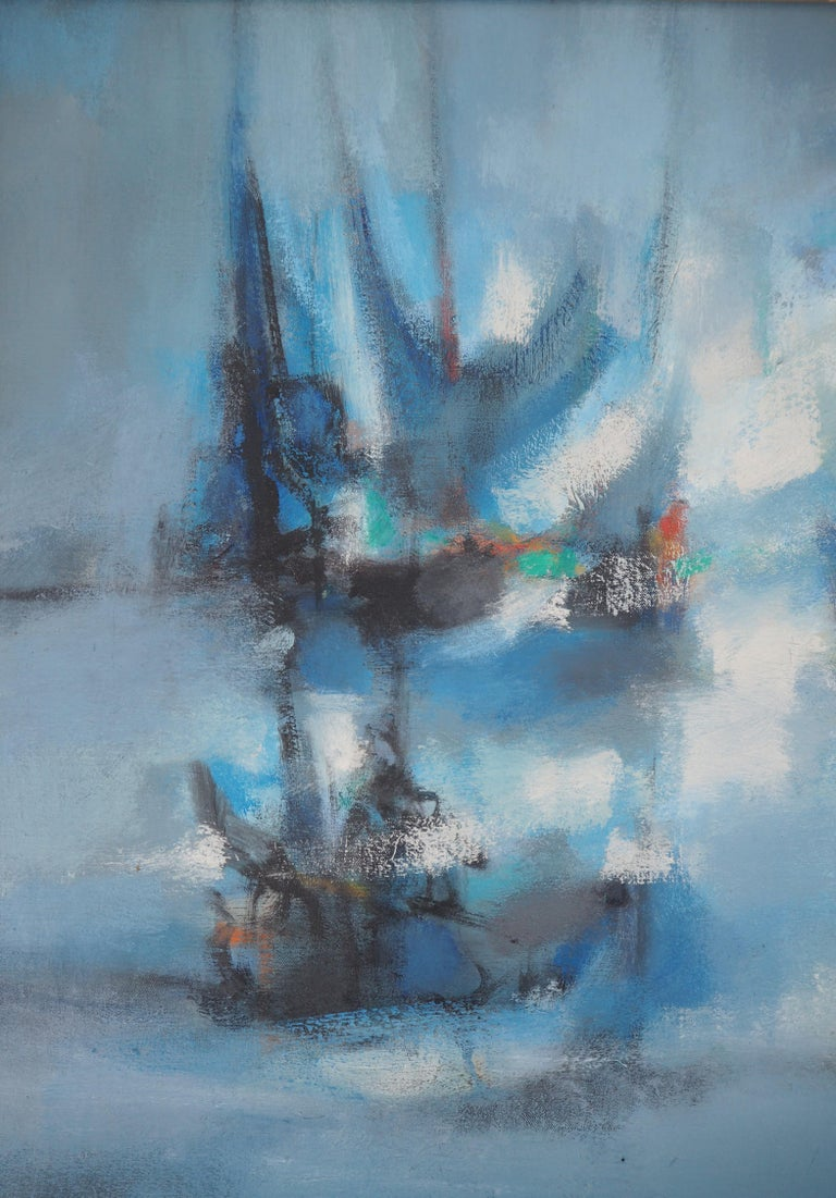 Boats : The Blue Sails - Original oil painting on canvas, Handsigned 3